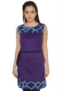 Soie,Unimod,Oviya,Lime Women's Clothing - Soie Polyester Blend Dress, Contrast Patch-Work & Belt.(Product Code)_5590(B)Purple_
