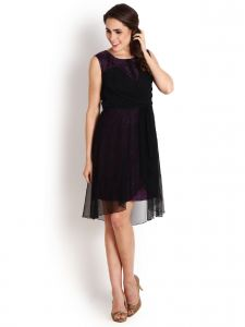 Soie,Unimod,Valentine,Cloe,Ag,Kaamastra,Sukkhi Women's Clothing - Soie Draped Ggt Dress, Contrast Lace Lining.(Product Code)_5592Purple_Size S Only