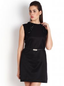 Soie Polyester Blend Dress, Bead Embellishment.(product Code)_5597(b)black_