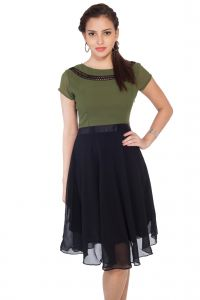 Soie,Unimod Women's Clothing - Soie Flared Ggt Dress, Lace Detailing At The Neck Line(Product Code)_5610Olive_