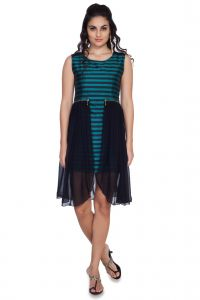 Soie Striped Tafetta Dress, Pleated Ggt Side Panels & Zipper Detailing At The Waist(product Code)_5613green_