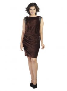 Soie,Unimod,Oviya,Lime Women's Clothing - Soie Embossed Velvet Dress, Waist Cowls & Embellishment At The Armholes(Product Code)_5615Brown_