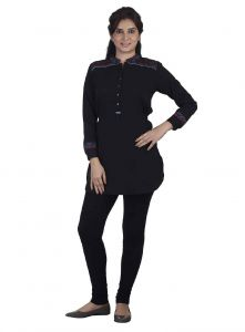 Soie Crepe Tunic, Thread Embroidery On Cuffs & Shoulder Yoke.(product Code)_5635black