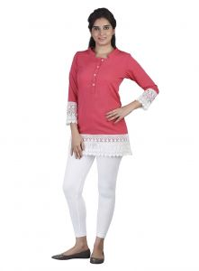 Soie,Arpera Women's Clothing - Soie Crepe Tunic, Lace Detailing At The Hem & Sleeves(Product Code)_5636Pink_