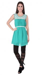 Soie Tunic, Lace Yoke, Embroidery Detailing & Belt(product Code)_5638(b)green_