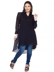 Soie,Unimod Women's Clothing - Soie  Tunic, Lace Yoke, Satin Cuff & High-Low Hemline(Product Code)_5640(I)Black_