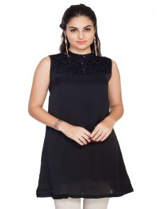 Vipul,Pick Pocket,Kaamastra,Soie,The Jewelbox,Cloe,Arpera Women's Clothing - Soie Light Weight Satin Tunic, Lace Neck Yoke & Belt(Product Code)_5645(B)Black_