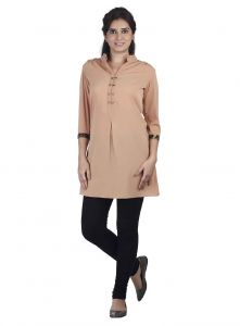 Soie 3/4th Sleeve Crepe Tunic, Tiger Print Cuffs(product Code)_5651beige