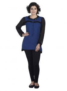 Soie Ggt Tunic, Leather Collar & Lace Detailing(product Code)_5652blue