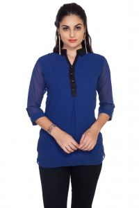 ivy,soie Tops & Tunics - Soie 34Th Sleeve Ggt Top, Pin Tucks & Shirt Collar (Product Code)_5664Blue_
