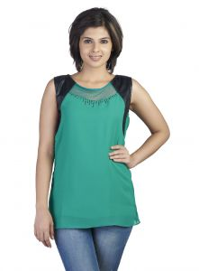 Soie Top, Sheer Yoke, Leather Patch & Bead Detailing(product Code)_5665b.green