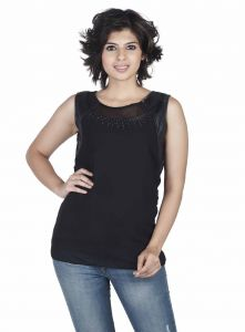 Hoop,Shonaya,Soie,Vipul,Kaamastra Women's Clothing - Soie  Top, Sheer Yoke, Leather Patch & Bead Detailing(Product Code)_5665Black