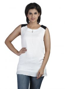 Soie,Port,Ag,Arpera,Pick Pocket,Surat Diamonds,Bikaw Women's Clothing - Soie Sleeveless  Top, Leather Shoulder Patch (Product Code)_5669Off White