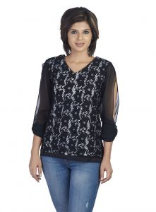 Soie Lace Top, Interesting Sleeves Detailing(product Code)_5676black_