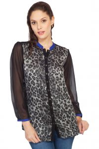hoop,shonaya,soie,platinum,sukkhi,jpearls Shirts (Women's) - Soie Printed Satin Shirt,  Sleeves(Product Code)_5683Grey_