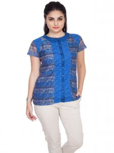 Soie Short Sleeve Printed Lace Shirt, Peter Pan Collar(Product Code)_5686Blue_