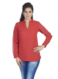 Soie Full Sleeve Top, V Neck & St & Collar(product Code)_5688red