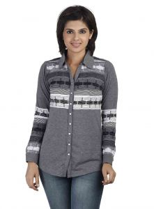 Soie Full Sleeve Printed Knit, Front Open Shirt(product Code)_5694grey