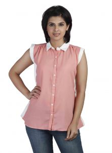 soie,flora,oviya,Soie Shirts (Women's) - Soie  Shirt, Contrast Cap Sleeves & Collar(Product Code)_5741Rose Pink