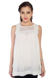 Vipul,Pick Pocket,Kaamastra,Soie,The Jewelbox,Kiara Women's Clothing - Soie Sleeveless Crepe Top, Pleats At The Front &(Product Code)_5743Off White