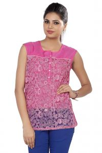 Soie Embroidered Top, Extended Shoulders, Knit Yoke & Back & Front Placket(product Code)_5748d.pink