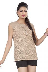 Soie,Unimod,Surat Tex,Flora Women's Clothing - Soie Embroidered Top, Extended Shoulders, Knit Yoke & Back & Front Placket(Product Code)_5748L.Beige