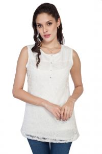 Soie Embroidered Top, Extended Shoulders, Knit Yoke & Back & Front Placket(product Code)_5748off White_