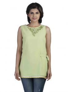 Soie,Unimod,Oviya,Sudev Women's Clothing - Soie Sleeveless  Top, Embroidery At Neck & Lace Detailing At The Hem(Product Code)_5750L.Green