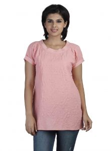 vipul,arpera,clovia,soie,the jewelbox,flora Shirts (Women's) - Soie Short Sleeved Heat-Set Tee Shirt, Rib At Neck &  At The Back(Product Code)_5751Rose Pink_