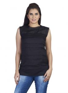 Soie,Flora,Oviya,Asmi,Estoss Women's Clothing - Soie Sleeveless Voilee Top, Horizontal Pleats At The Front & Lace Detailing(Product Code)_5754(I)Black_
