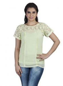 Soie Short Sleeved Embossed Top, Embroidered Yoke & Sleeves & Matching Belt(product Code)_5756(ib)l.green_