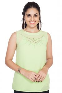 Vipul,Pick Pocket,Kaamastra,Soie,The Jewelbox,Kiara Women's Clothing - Soie Sleeveless Crepe Top, Cut-Out & Embroidery At The Neck(Product Code)_5757(I)Lemon Green_