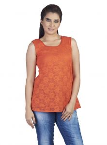 hoop,shonaya,soie Tops & Tunics - Soie Sleeveless Lace Top,  Back(Product Code)_5759Orange_