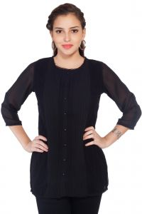 Soie Embroidered Top, Sleeves & Back,lace Detailing & Front Placket(product Code)_5765black_