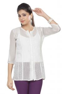 Soie Embroidered Top, Sleeves & Back,lace Detailing & Front Placket(product Code)_5765off White