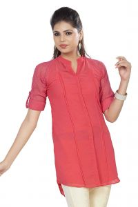 Soie Long Top, Lace Lining & Roll-up Lace Sleeves, Front Placket & Matching Belt(product Code)_5766l.peach