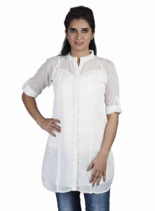 Ivy,Soie,Cloe,Jpearls,Port Women's Clothing - Soie Long  Top, Lace Lining & Roll-Up Lace Sleeves, Front Placket & Matching Belt(Product Code)_5766Off White_