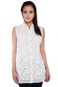 Soie Sleeveless Shirt, Lace Top Layer & Collar(product Code)_5769off White_