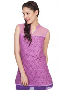 Lime,Surat Tex,Soie,Jagdamba Women's Clothing - Soie Long Sleeveless Chiffon Top, M&Arin Collar & Lace Front Layer(Product Code)_5772D.Purple_