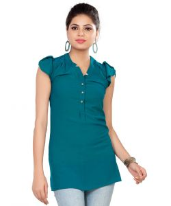Soie Long Top, Short Sleeves, Lace Shoulder Yoke & Back Panel & Front Placket(product Code)_5773t.blue