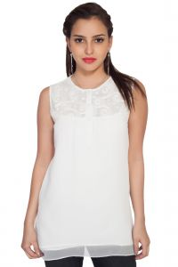 Vipul,Pick Pocket,Kaamastra,Soie,The Jewelbox,Kiara Women's Clothing - Soie Sleeveless  Tp, Embroidered Yoke & Lining & Lace Detailing(Product Code)_5775Off White_