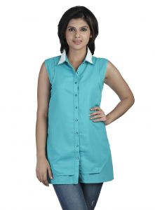 vipul,pick pocket,kaamastra,soie,asmi,parineeta,clovia,estoss Shirts (Women's) - Soie Sleeveless  Shirt, Lace Collar(Product Code)_5778R.Green