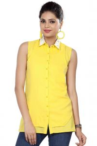 Hoop,Shonaya,Soie,Platinum,Flora,Surat Tex Women's Clothing - Soie Sleeveless  Shirt, Lace Collar(Product Code)_5778Yellow