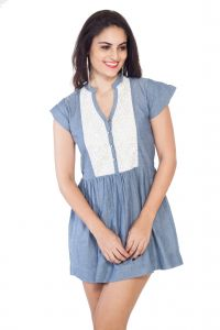 Soie Cap Sleeved Chambrey Top, Front Placket, Lace Panel & Gathers At The Waist(product Code)_5779blue_