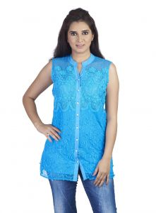 vipul,arpera,clovia,soie,the jewelbox,flora Shirts (Women's) - Soie Sleeveless Voilee Shirt, Mix Of Embroidered Panels At The Front & M&Arin Collar(Product Code)_5788Blue_