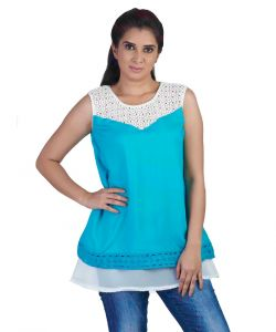 Soie Sleeveless Double Layered , Lace Detail-at The Hem & Yoke & Rayon Top Layer(product Code)_5790blue_