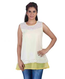 Soie,Unimod,Oviya,Sudev Women's Clothing - Soie Sleeveless Double Layered , Lace Detail-At The Hem & Yoke & Rayon Top Layer(Product Code)_5790Off White_