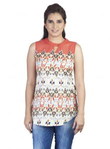 Soie,Valentine Women's Clothing - Soie Sleeveless Printed Crepe Top, Key-Hole At Front(Product Code)_5792Print_