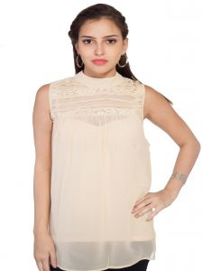 Soie Sleeveless Top, Lace Ad Pleating Detailing & St& Collar(product Code)_5793(i)beige_