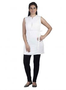 Soie,Valentine Women's Clothing - Soie Sleeveless Crepe Tunic, Embroidered Side Panels, Zipper At The Front & Lace Detailing(Product Code)_5796Off White_